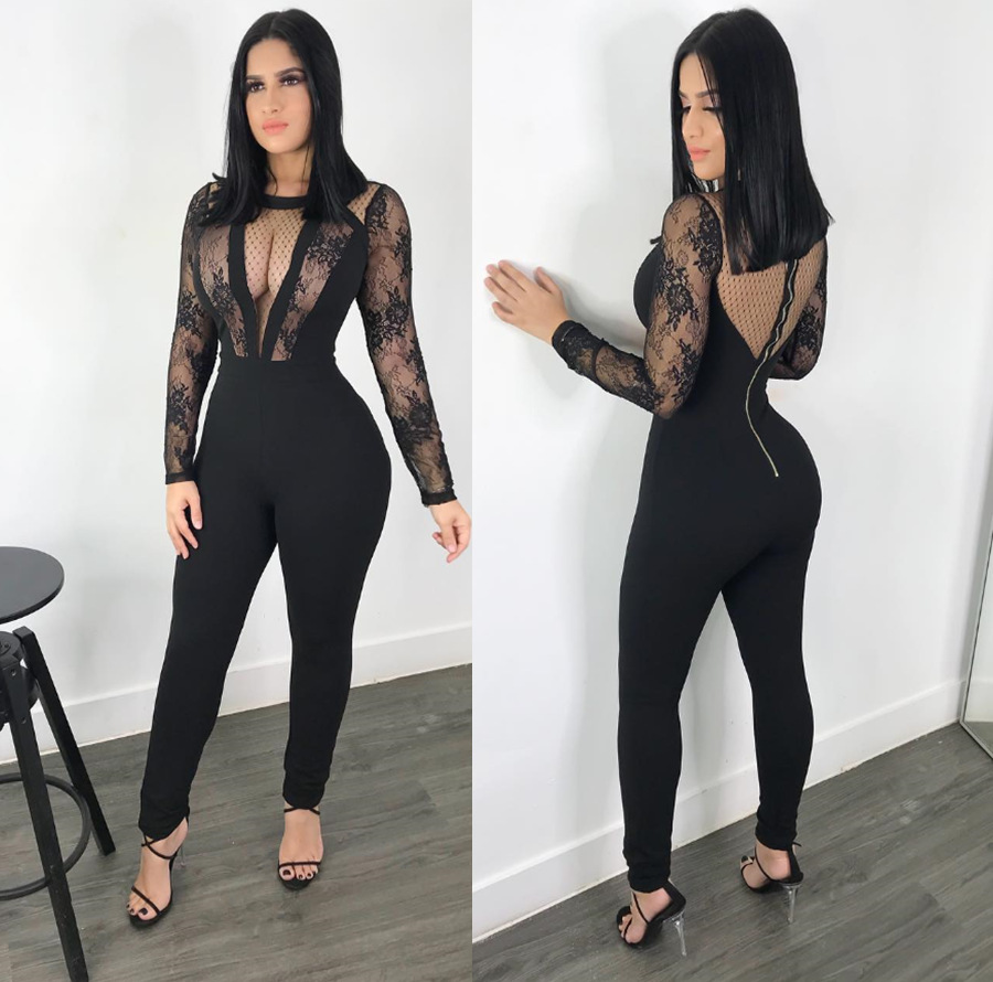 women lace sheer mesh sexy jumpsuit club outfit long