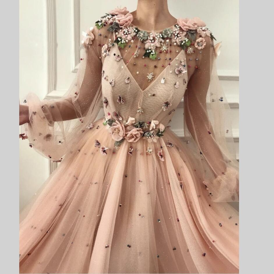 2020 Evening Dresses Sheer Neck Robe De Soiree Longue A-Line 3D Flower Prom Dress Special Occasion Long Evening Gowns Arabian