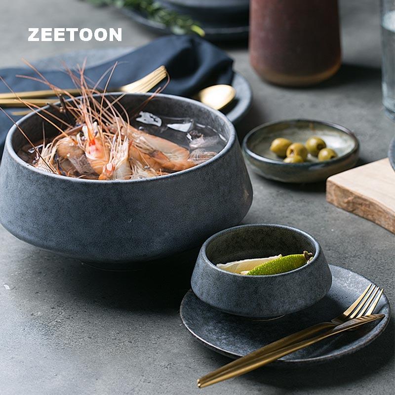 Creative Soup Bowl Household Ceramic Dinnerware Tableware Fruit Salad High Bowls Porridge Rice Dessert Noodles Holder Decoration