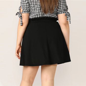 Plus Size Black Paperbag Waist Button Up Flare Skirt