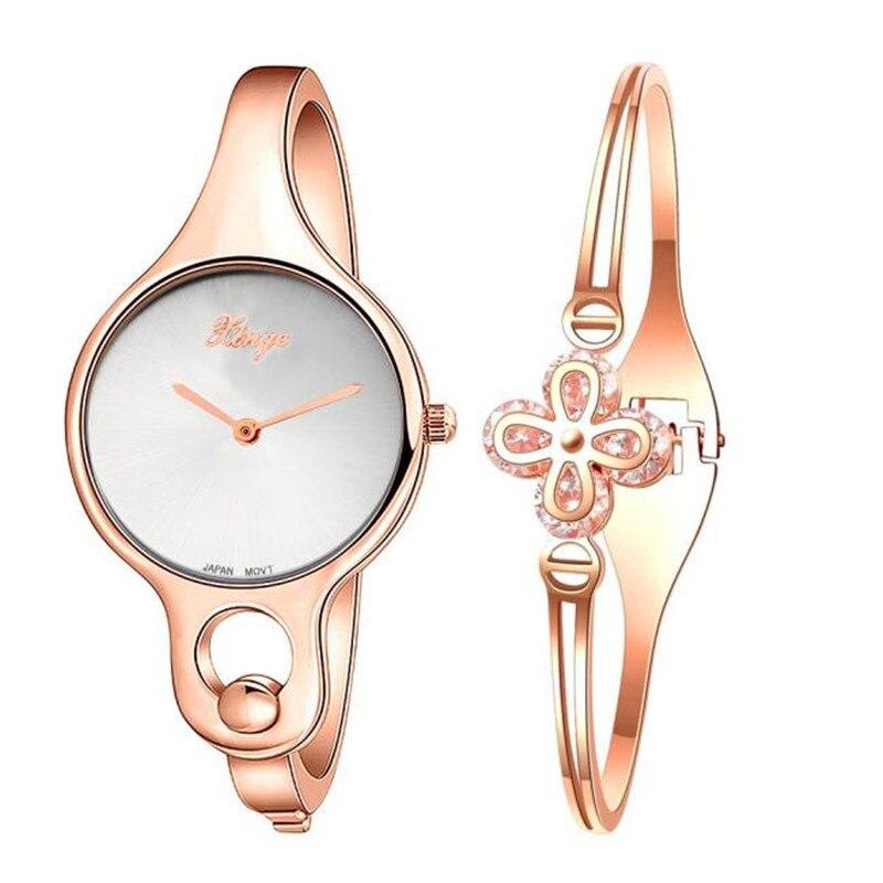 Reloje mujer 2017 m ontre f emmeผู้หญิงG Old R Hinestoneกำไลข้อมือนาฬิกาและชุดสร้อยข้อมือนาฬิกาข้อมือหญิงทองชุดนาฬิกาs ...