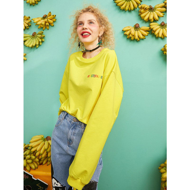 ELF SACK 2019 Spring New Woman Sweatshirts O Neck Letter Full Pullovers Femme Hoodies Casual Cotton Ladies Sweatshirts Sudadera in Hoodies amp Sweatshirts from Women 39 s Clothing
