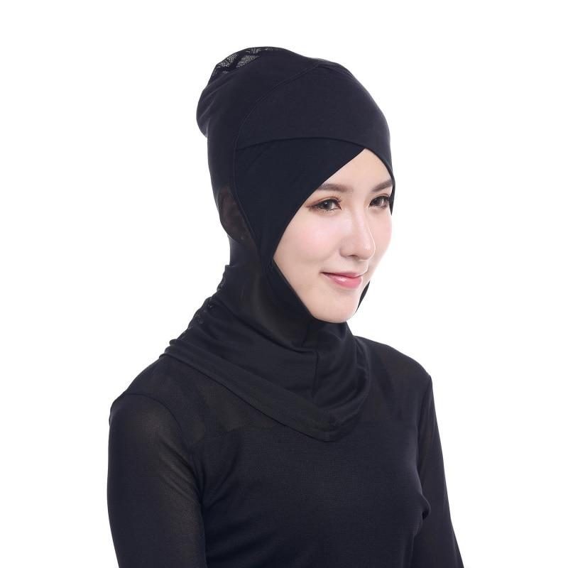 Muslim Headscarf  Womens Face-lift Muslim Hijab Ninja Single Cross Drilling Lace Underscarf Head Islamic Cover Bonnet Scarf