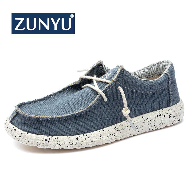 ZUNYU 2019 Nova Chegada do Outono do Verão Confortáveis Sapatos Casuais Sapatas de Lona Dos Homens Para Homens Marca de Moda Tamanho do Sapato Mocassim Liso 48