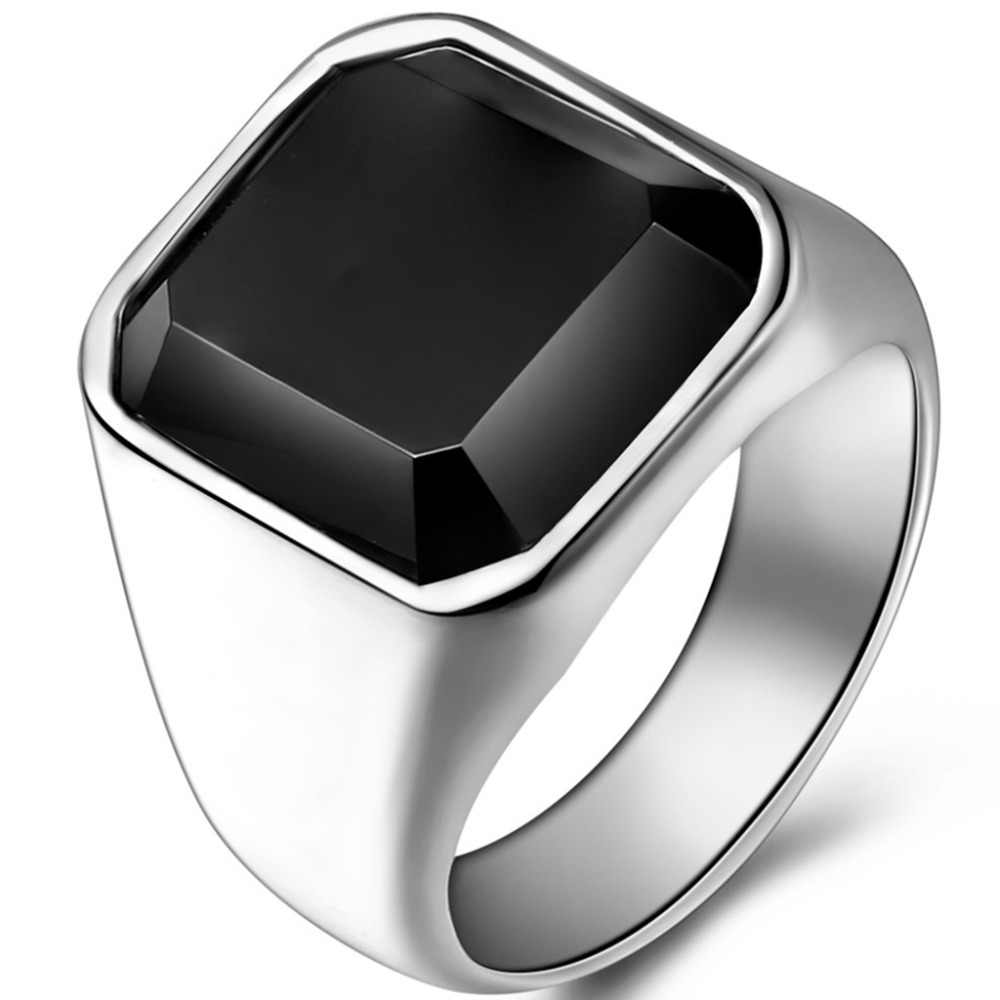 Size 7-14 Stainless Steel Black Onyx Signet Ring Classical Plain Husband Father Cocktail Party Wedding Anniversary