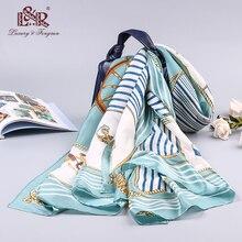 Luxury Brand Silk Handkerchief Spring Print Satin Scarf For Women Foulard Femme Shawls New fashion Hijab Bandana