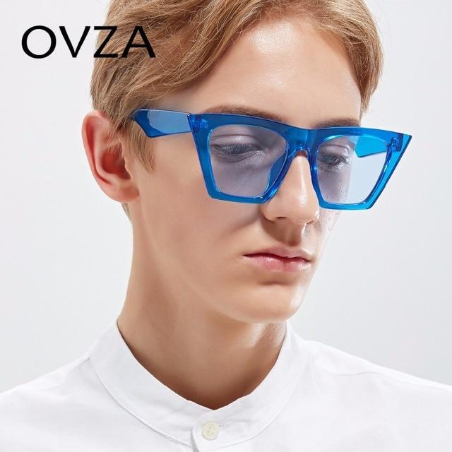 44d7c6c84ba OVZA 2018 New Designed Cat Eye Glasses Women Fashion Sunglasses Mens Oversized  Retro Sunglasses Translucent Lens S2057