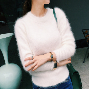 2020 Women Sweaters and pullovers Pure Mink Cashmere Knitted Pullover ladies sweater  Free Shipping TBWA645 1
