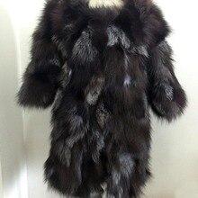 Новое натуральное пальто из лисьего меха, куртка из натурального меха для женщин, модный брендовый мех KFP465