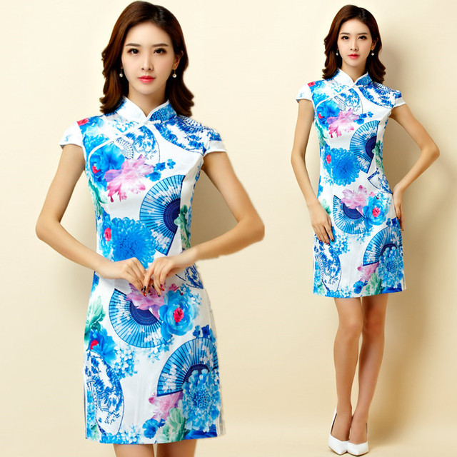 M~3XL Plus Size NEW Chinese Traditional Women Blue Flower Print Cheongsam  Qipao Party Lady Female Big Short Midi Dress Vestidos 5ea0b8b22d3a