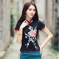 Estilo Tradicional chinesa Nova Magro Botões de Placa Bordado Curto-de mangas compridas T-shirt do Verão das Mulheres Da Moda