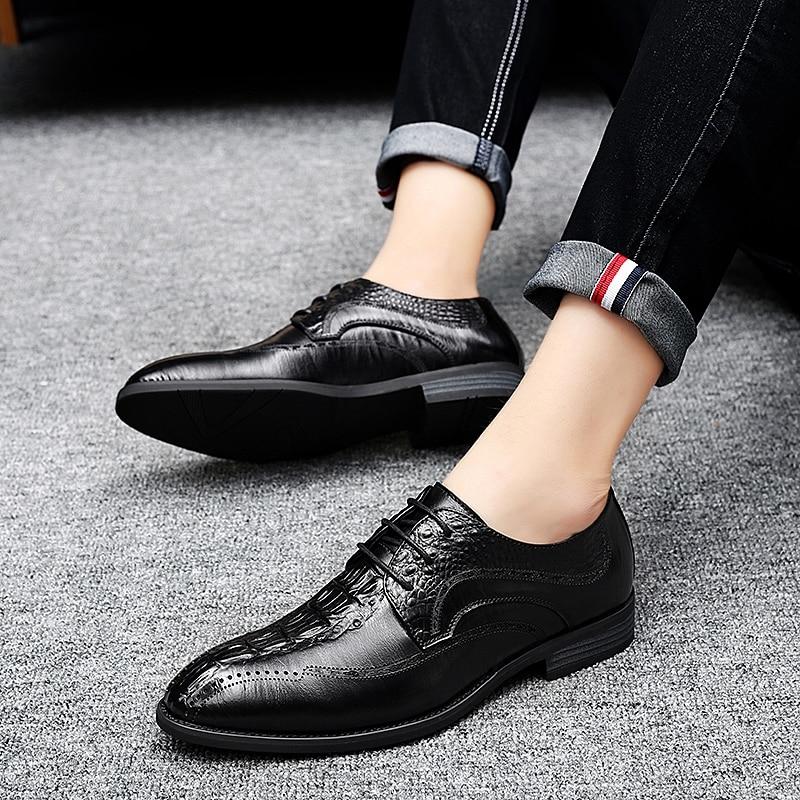 Los Para Hombre Clásico Marrón Oficina Zapatos brown Elegante Genuino Black Calzado De Negro Cuero Fiesta Boda Y Formal Hombres Vestir vvYA4RW