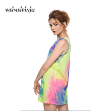 Women's Summer Dresses 2017 New Casual Tie Dye Woman Chiffon Dress Plus Size Clothing Femme See Through Mini Beach Sundress