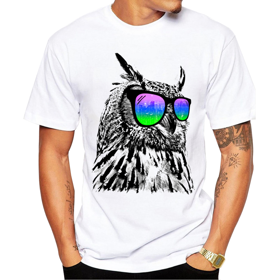 2018 Custom Men T-shirt Short Sleeve Fashion Cool Owl t shirts with Glasses Printed Tee Shrits Hipster Basic Tops
