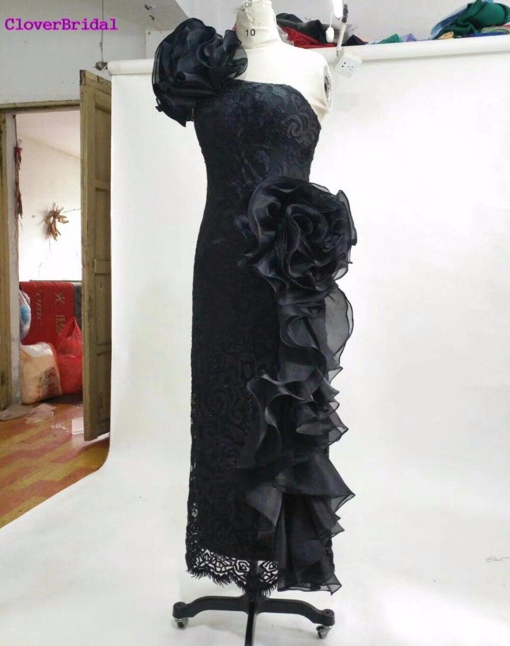 Unique exaggerated one shoulder black huge big organza flowers lace ankle length straight renda vestido formatura longo