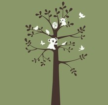 Koala Bird Tree Vinyl Wall Stickers Large Size Wall Decal Decor Nursery Baby Kids Room Waterproof