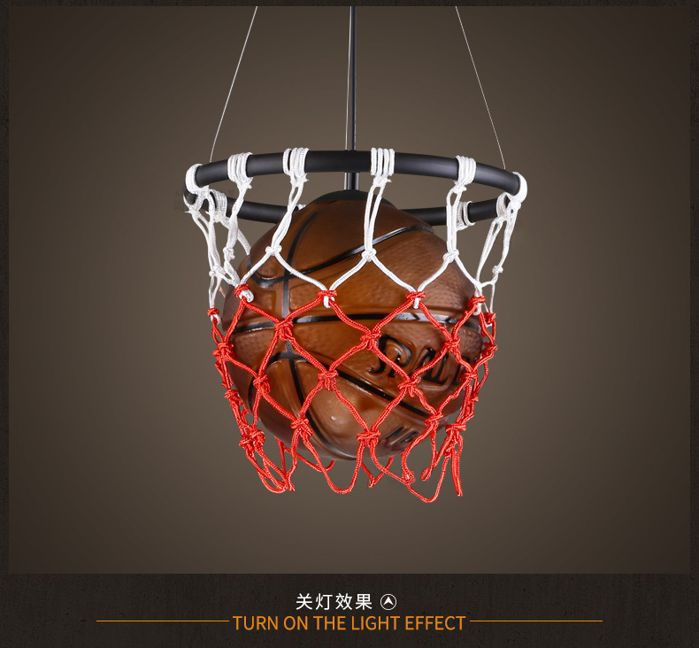 Image 4 - American Vintage Sport Theme Bar Basketball Soccer Hanging Light Childrens Room personality Football Pendant Lights Bedroom Boy-in Pendant Lights from Lights & Lighting
