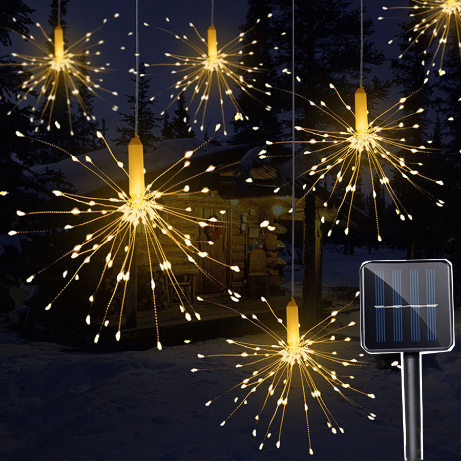 цены Thrisdar 200LED Solar Powered Starburst Fairy String Light Garland DIY Firework Explosion Star Wedding Party Xmas Holiday Light