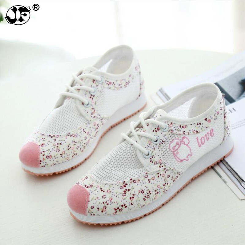 Women Breathable Mesh Zapatillas Shoes Women Cute Style Hollow-out Sneakers Students Antislip Breathable Casual Shoes Wild Flats