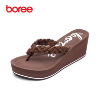 Boree Summer Women S Sandals Fashion Flip Flops Casual Shoes Soft Suede Fabric Crystal Decor Thick