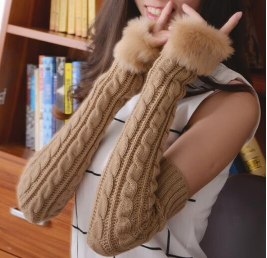 Women Winter Hand Arm Crochet Cable Knitting Gloves Mittens Warm 1pcs 55cm Plus Long New