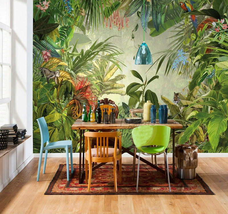 Cutom 3D wall paper mural on the wall wholesale tropical rain for office restaurant living room meeting room