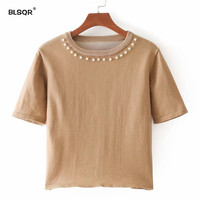 BLSQR Women Elegant Beading Pearl Knitted Shirts Elastic Short Sleeve O Neck Crop Blouse Female 2018