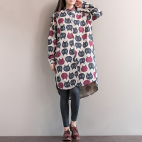 Women Print Cat Dress Autumn Long Sleeve Casual Sweet Cotton Linen Women Clothes Dress