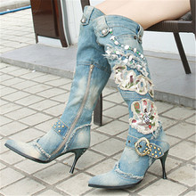 Fashion Women Denim Boots Thin High Heel Knee High Boots Rhinestone Beading Botas Winter Warm Jean Knight Gladiator Combat Boot