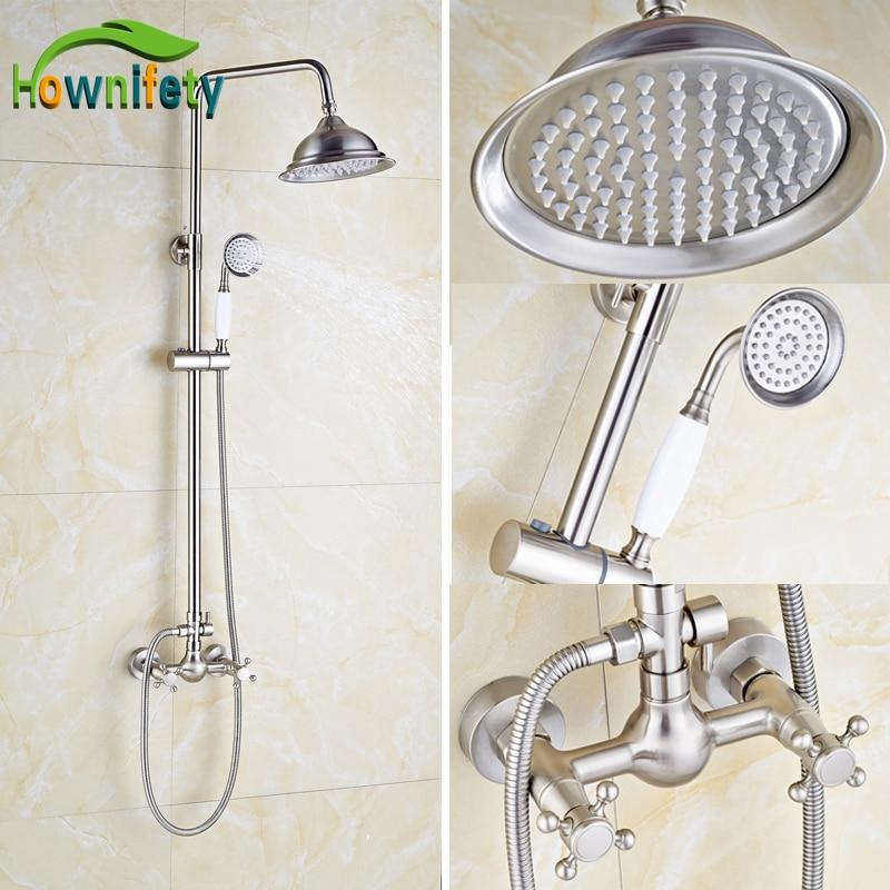 Brushed nickel bathroom shower set faucet 8 inch shower - 8 inch brushed nickel bathroom faucet ...
