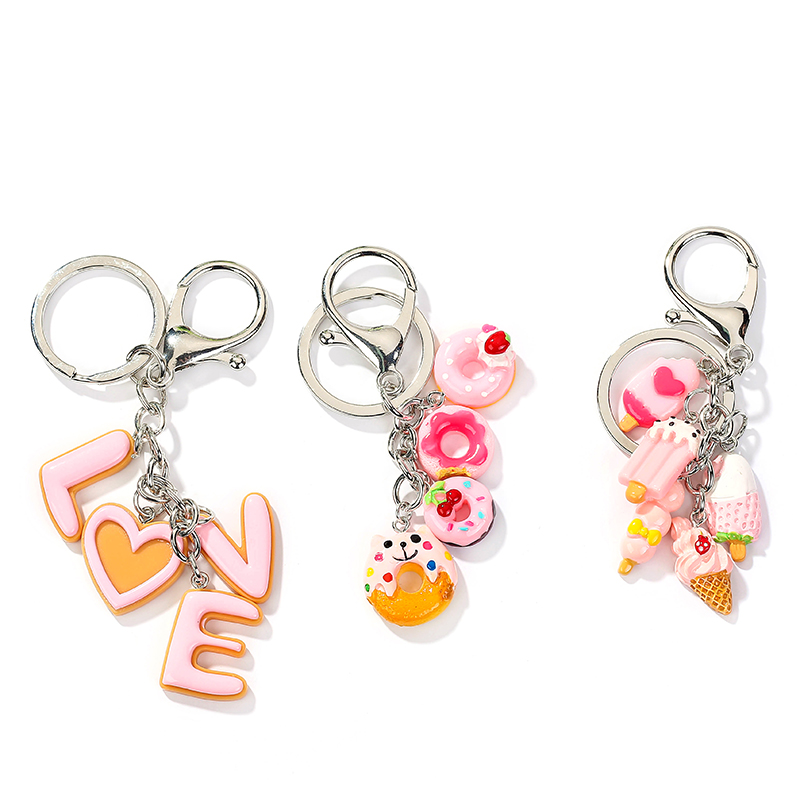 1PC Resin Donut Keychain Flatback Resin Pendant Charms Resin Keyring For Woman Jewelry