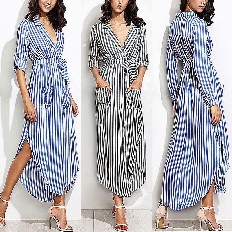 ea31ea2976687 CLEMIA 2018 Spring Women Long Maxi Striped Shirt Dress Ladies Sexy Elegant  Long Sleeve Evening Party Split Dresses Vestidos