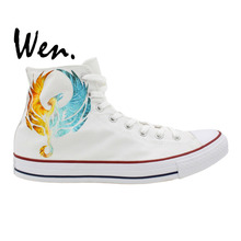 Wen Hand Painted Sneakers Design Custom Iced and Fire Phoenix High Top Men Women's Canvas Shoes Birthday Gifts