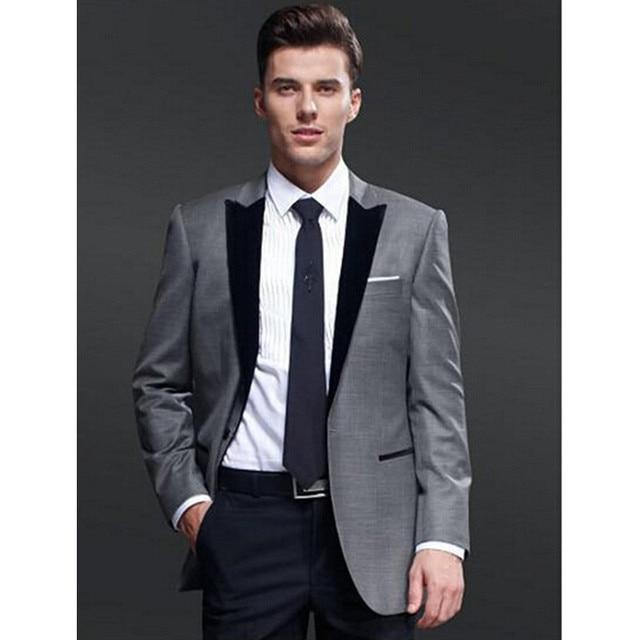 dc1aa9977e3 Blazer para hombre hecho a medida chaqueta gris pantalones negros trajes de  boda para hombre mejores