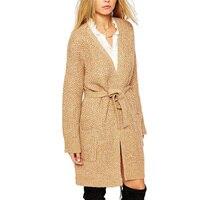 European Women Knitted Cardigans Coat Long Sweater Female Solid Pocket Sashes Design Knitwear Long Sleeve Long