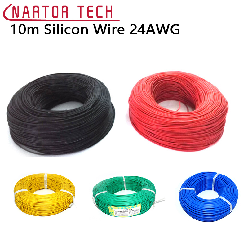 10m Silicon Wire 24AWG Heatproof 200 degree Soft Silicone Silica Gel Wire Cable For RC Model Battery Multicolor Choose