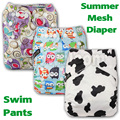 Baby Washable Reusable Real Cloth Pocket Nappy Diaper Cover Wrap 0-3 Years One Size SUMMER Mesh Swim Pants