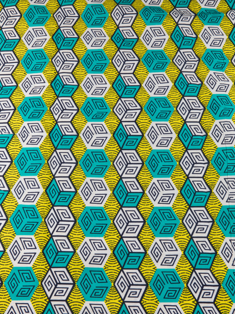 African Batik Fabric Real Wax Yellow White Green Square Cubes ...