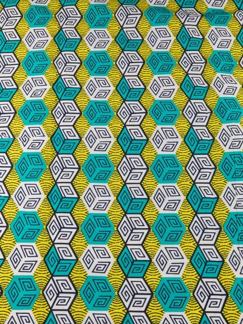 afrikanische batik stoff echtwachs gelb weies grnes quadrat wrfel muster fr kleid machen 6 yards rw73010 - Batiken Muster