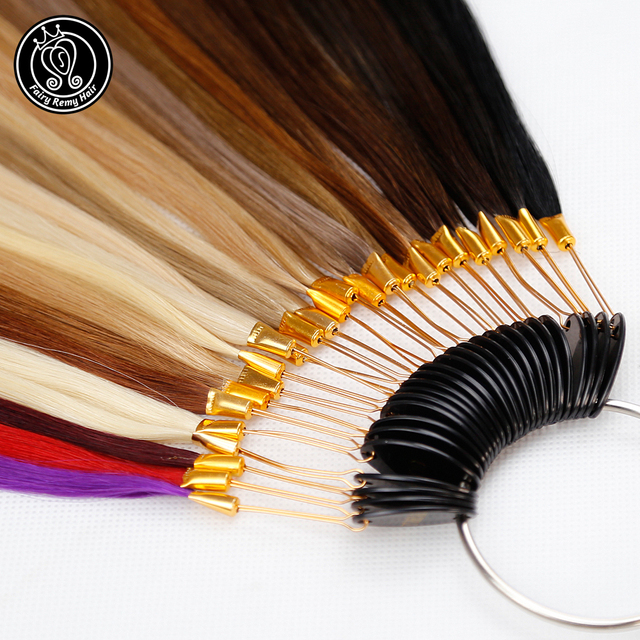 Fairy Remy Hair 100% Remy Human Hair Color Rings/ Colour Charts 26 Colors Available Can Be Dyed For Salon Sample Free Shipping 1