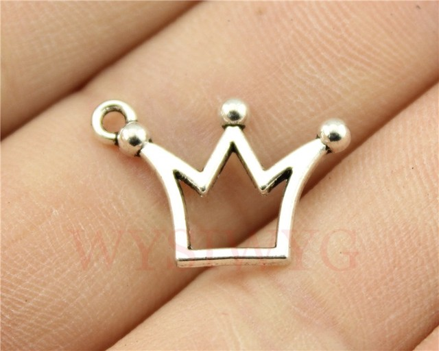 WYSIWYG 10pcs 20*13mm Vintage Antique Silver Color Small Crown Charms