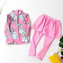 Купальный костюм из трех предметов милые детские розовые брюки-кюлоты с длинными рукавами и цветочным рисунком для девочек солнцезащитный крем SPF 50+ Быстросохнущий купальный комплект S94703X