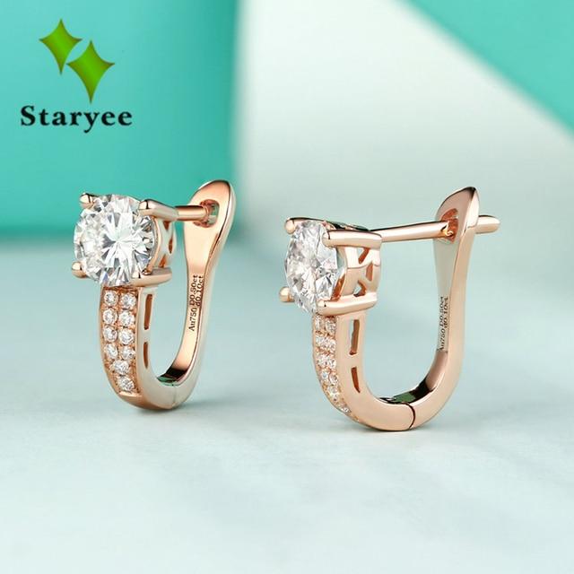 18 พัน Pure Rose Gold Moissanite คลิปต่างหูผู้หญิง 0.5CT VS G Charles Colvard อัญมณีเครื่องประดับจำลอง diamond Accent