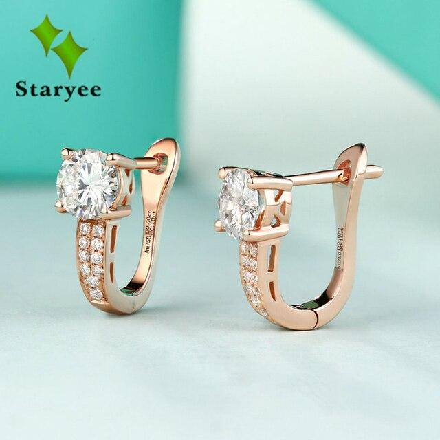 Trendy 18K Pure Rose Gold Moissanite Clip Earrings FOR Women 0.5CT VS G Charles Colvard Gem Fine Jewelry Simulate Diamond Accent