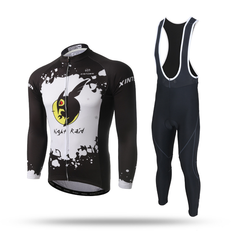 New Long Sleeve Cycling Sets Black White Quick Dry Anti-sweat Jersey and GEL Pad Bib Pants MTB Bike Bicycle Jersey Suit Ciclismo ckahsbi 2017 new long sleeve cycling sets suit male autumn winter jersey outdoor bike coat quick dry mtb riding pants mountain
