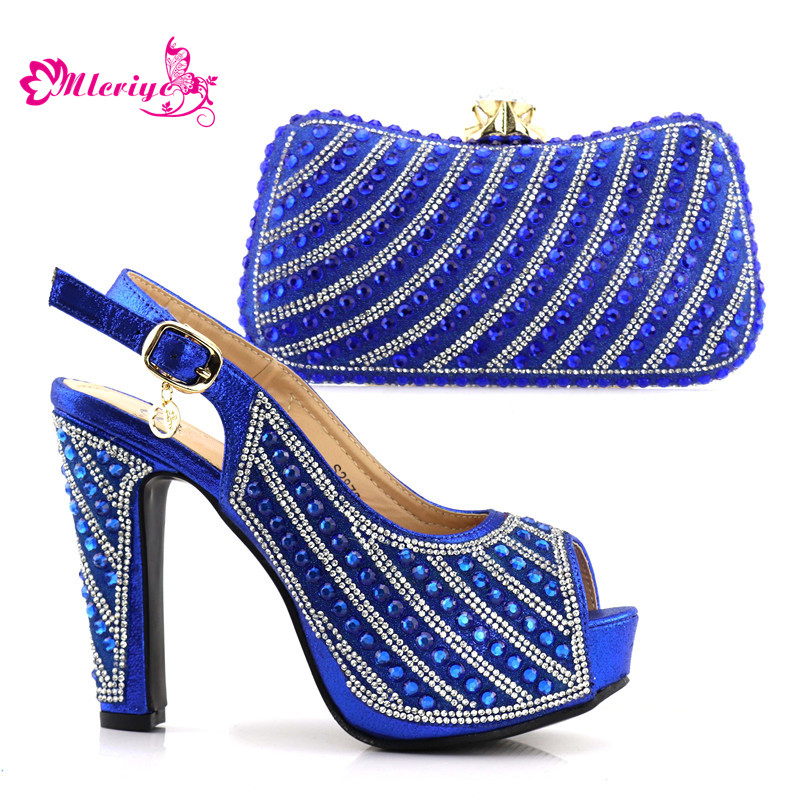 2872 New Arrival blue Italian Matching Shoe and Bag Set for Wedding Shoe and Bag Italian Design Set African Shoe and Bag Set цена