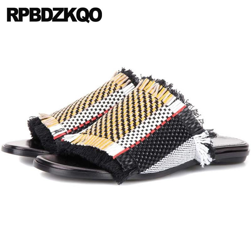 Ladies Pumps Shoes Flat Thick Slides Block Designer Sandals Women Luxury 2018 Fringe High Heels Runway Slip On Slippers Weave цены онлайн