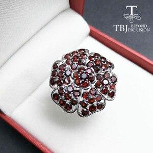 Image 5 - Tbj, büyük lüks taş yüzük doğal kırmızı garnet handsetting taşlar yüzük 925 ayar gümüş ile parti için hediye kutusu