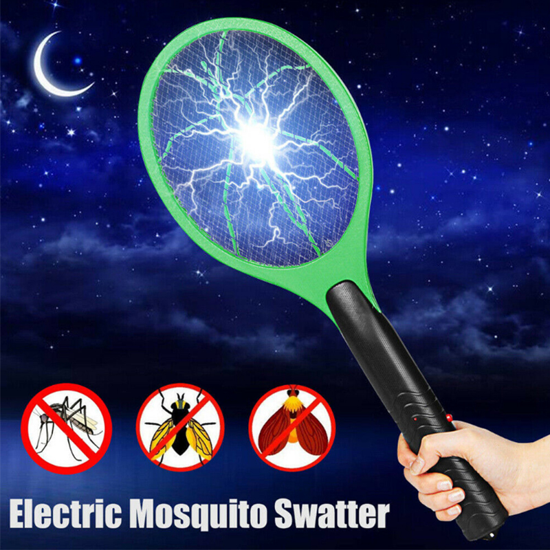 Electric Mosquito Swatter Cordless 2Pcs AA Batteries Hand Shaped Swatter Protect Human Insect Killer Mosquito Swatter