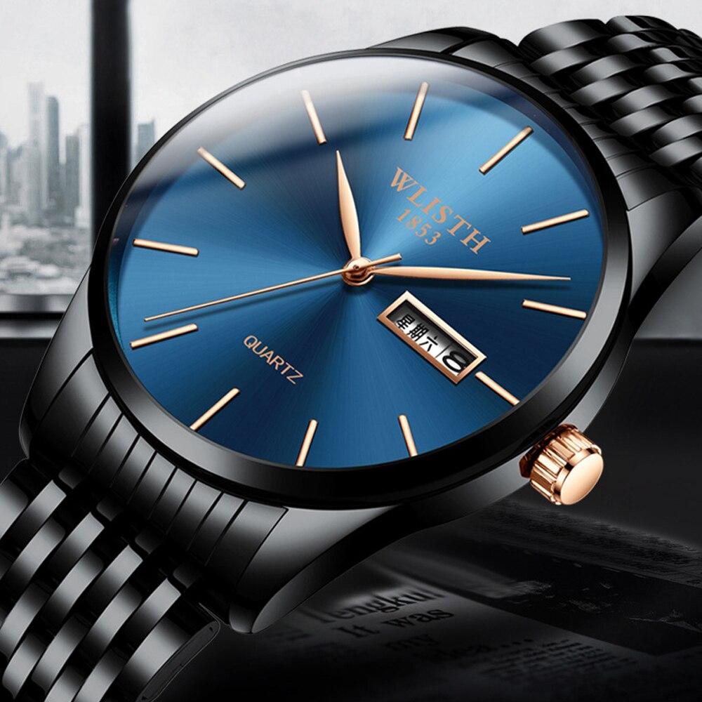 WLISTH Ultra Thin 8MM Fashion Men's Quartz Watch Sport Waterproof Casual Watches Date Blue Steel Wristwatch Relogio For Gift
